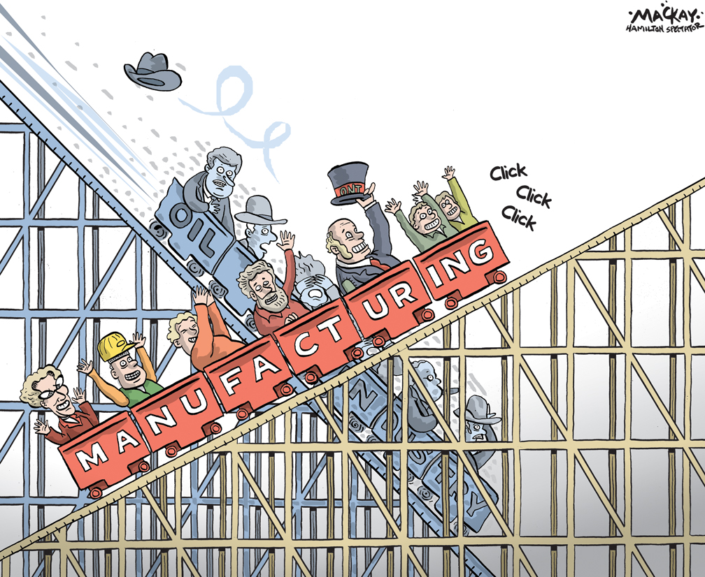 Editorial Cartoon by Graeme MacKay, The Hamilton Spectator - Wednesday December 3, 2014 Ontario benefits as oil prices plunge The steep drop in crude prices that continued Friday hurts oil-rich provinces like Alberta and Newfoundland, but Ontario comes out a winner thanks to increased demand for auto production and overall exports. ÒFor us, itÕs very good news, even if itÕs not so much for the rest of the country,Ó said Mike Moffatt, assistant professor at Western UniversityÕs Ivey School of Business.  ÒWe are a net importer of oil. Obviously, we use oil in our day-to-day lives, but itÕs a big input for our manufacturers as well,Ó he said. ÒItÕs always a good thing when the stuff you buy becomes relatively cheaper,Ó Moffatt said. ÒAnd lower oil prices drive down the Canadian dollar, which helps our exporters.Ó According to the 2014 Ontario budget, every $10 drop in the price of a barrel of crude oil results in a 0.1 to 0.3 percentage point in economic growth for the provincial economy. ÒIf you put it in dollar figures, thatÕs between $1 billion and $2 billion for OntarioÕs economy,Ó Moffatt said. The impact is expected to be even greater here, given that the price of oil has plunged since OPEC decided Thursday to leave its production targets of 30 million barrels a day unchanged despite an oversupply and falling prices. Western Canada Select, the Canadian benchmark, has lost more than a third of its value since June, in step with declines for West Texas Intermediate and the international gauge Brent. WCS spot prices traded Friday at $48.40 a barrel, the lowest in the world. (Source: Toronto Star) http://www.thestar.com/business/2014/11/28/ontario_benefits_as_oil_prices_plunge.html Ontario, Alberta, Canada, Oil, Stephen Harper, Kathleen Wynne, manufacturing, economy